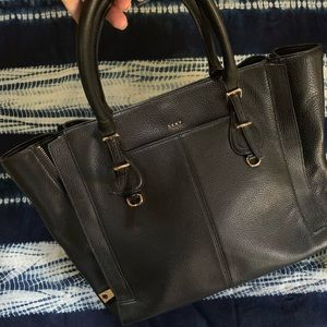 DKNY Pebbled Leather Tote Bag with Gold Hardware